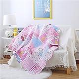 Ukeler 100% Cotton Pink Children's Bedspread Baby Girl Breathable Patchwork Kids' Coverlet Quilt Bedspread Throw Blanket 43''x51''