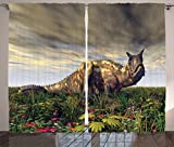 Cheap Ambesonne Jurassic Decor Collection, Dinosaur Carnotaurus Dark Clouds Sky Primeval Times Wilderness Plants Flowers Image, Living Room Bedroom Curtain 2 Panels Set, 108 X 84 Inches, Gray Green