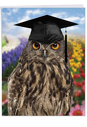 Wise Old Owl' Big Thank You Card with Envelope 8.5 x 11 Inch - Wise Scholarly Owl Professor Wearing Toga Hat Graduation Cap and Monocle Lens Greeting Card for Personalized Thanks to Teacher J4630TTG