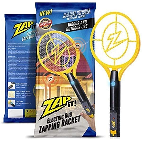 ZAP IT!! Exterminador eléctrico de insectos - Raqueta eléctrica exterminadora de insectos, matamoscas y matamosquitos - Carga USB de 4000 voltios, Luz LED superbrillante para golpear en la oscuridad: Amazon.es: Jardín
