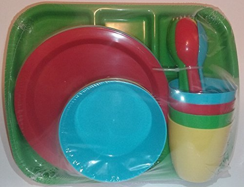Red Place Setting - Kids Plastic Dishes 4 Place Settings  - 24 pieces - Red, Blue, Green Yellow