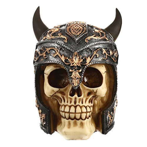 3D Resin Viking Skull Head Model with Horned Helmet Halloween Ornament Home Pub Bar Cafe Decoration Party Props Collection Gifts -