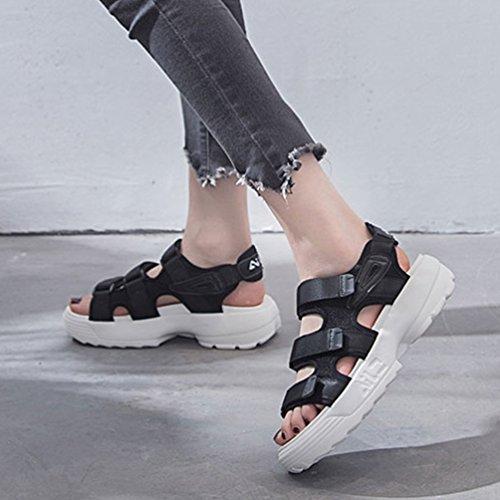 Noir Marche Confortable Femme Sandales À Chaussures L'extérieur Loisir 39 De 35 Sports Talon Plateforme wanw1zOUxq