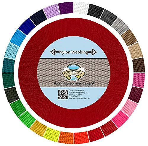 Country Brook Design | Heavy Nylon Webbing (1 inch) (Red, 20 Yards)