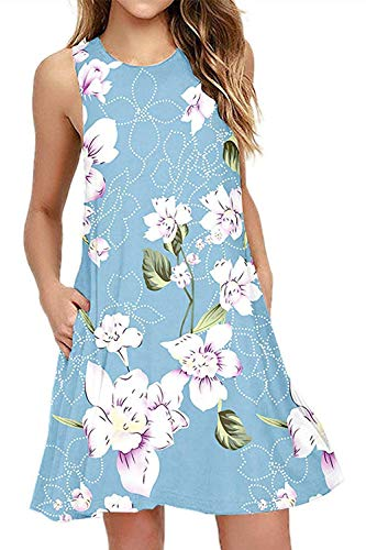 Genhoo Women Summer Casual Sleeveless Floral Printed Swing T Shirts Dress Sundress with Pockets(Z-Sky Blue,M