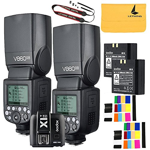 Godox V860II-N 2PCS 2.4G TTL Li-on Battery Camera Flash for Nikon D800 D700 D7100 D7000 D5200 D5100 D5000 D300 D300S D3200 D3100 D3000 D200 D70S D810 D610 D90 D750+Godox X1N-T Flash Trigger by Godox