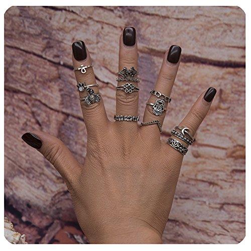 Zealmer Retro Silver Set of Rings Fatima Moon Flower Crown Elephant Rhinestone Knuckle Statement Ring -