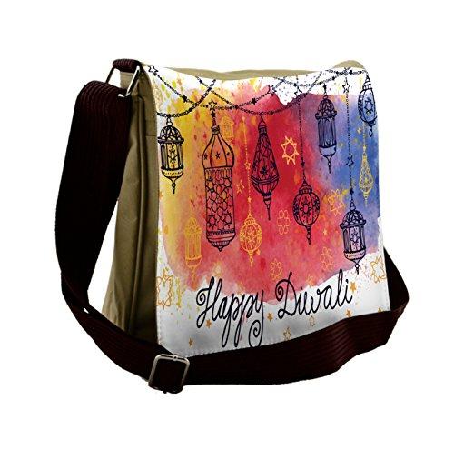 Lunarable Diwali Messenger Bag, Watercolor Sketch Pattern, Unisex Cross-body by Lunarable