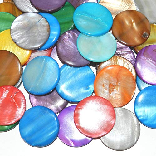 Bead Jewelry Making Assorted Color 30mm Flat Round Mother of Pearl Shell Beads 24pc