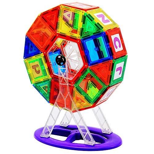 AppleRound Ferris Wheel Magnet Tiles Set, Includes 38 Magnet Tiles, 8 Non-Magnetic Ferris Wheel Components, and 13 Non-Magnetic Click-in ABC (Magnetic 3D STEM Construction ()