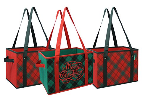 Earthwise Reusable Grocery Bag Box Shopping HOLIDAY Xmas Christmas Plaid Design Deluxe COLLAPSIBLE Gift Basket Bag w/ Reinforced Fold Down Bottom Stackable Storage Boxes Bins Cubes ( Set of 3 )