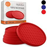 Large Drink Coasters - Absorbs Moisture and Prevents Table Damage, Modern Red Rubber Coaster with Non-Slip Bottom for Drinking Glasses, 6 Pack