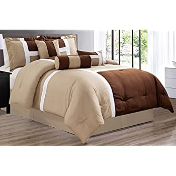 Amazon Com Grand Linen 7 Piece Oversize Light Brown Dark