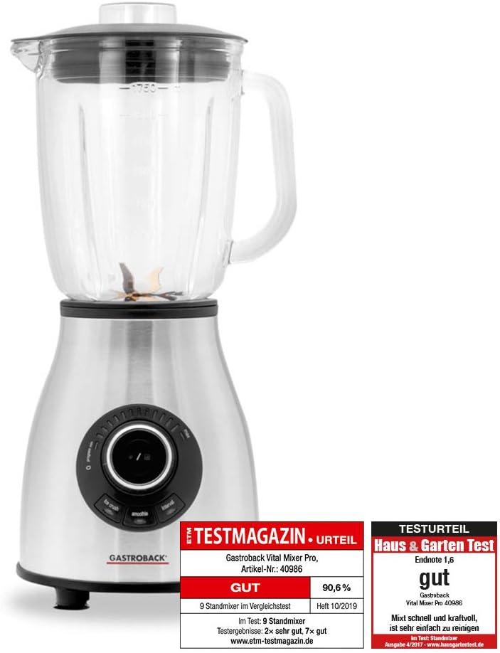 Gastroback Vital Mixer Pro Batidora de vaso smoothie, Jarra de cristal 1,75 l, 12 velocidades, 3 programas, 6 cuchillas, 1000 W, 1.75 litros, 0 Decibelios, Vidrio, Acero inoxidable: Amazon.es: Hogar