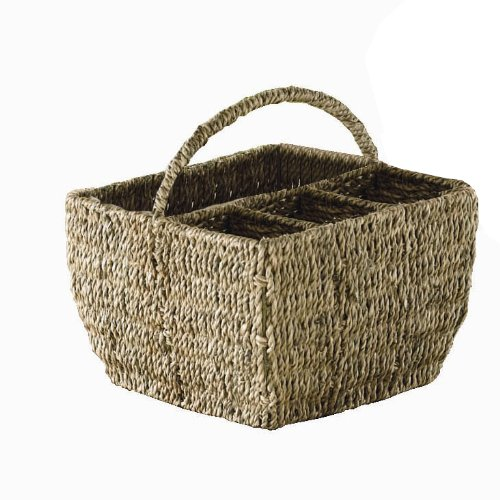 Tag Seagrass Basket, 4-Part Caddy with 8-Inch Handle