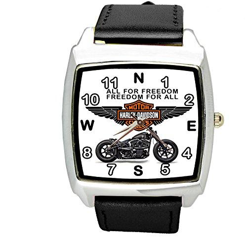 TAPORT Harley Davidson Motor Quartz Square Sport Watch Black Band + Spare Battery + Gift Bag Black
