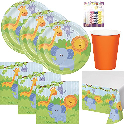 Forest Friends Birthday Theme 1st Party Supplies Pack (Serves-16) Dinner Plates, Luncheon Napkins, Cups, and Table Cover - First Zoo Party Supply Tableware Set Kit Includes Birthday Candles by Lobyn Value Packs