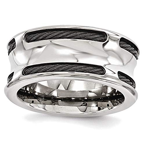 Edward Mirell Titanium Concave Stainless Steel Cable 10mm Wedding Band - Size ()
