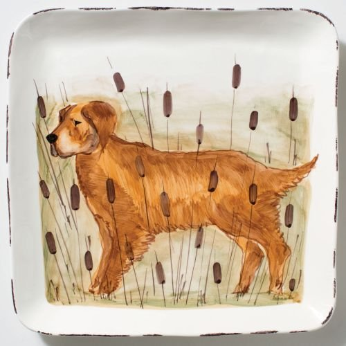 Vietri Wildlife Hunting Dog Large Square Platter