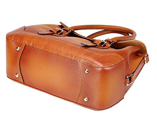 AINIMOER Women's Luxury Soft Leather Vintage Tote Top-handle Shoulder Bag Crossbody Handbag Satchel Ladies Purse(Sorrel)