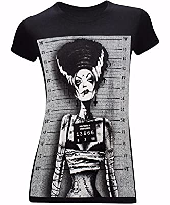 Bride of Frankenstein Mugshot Women's Fitted Funny T-Shirt