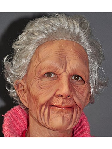 Zagone Super Soft Old Woman Mask, Grey Balding Wrinkly Old Man -