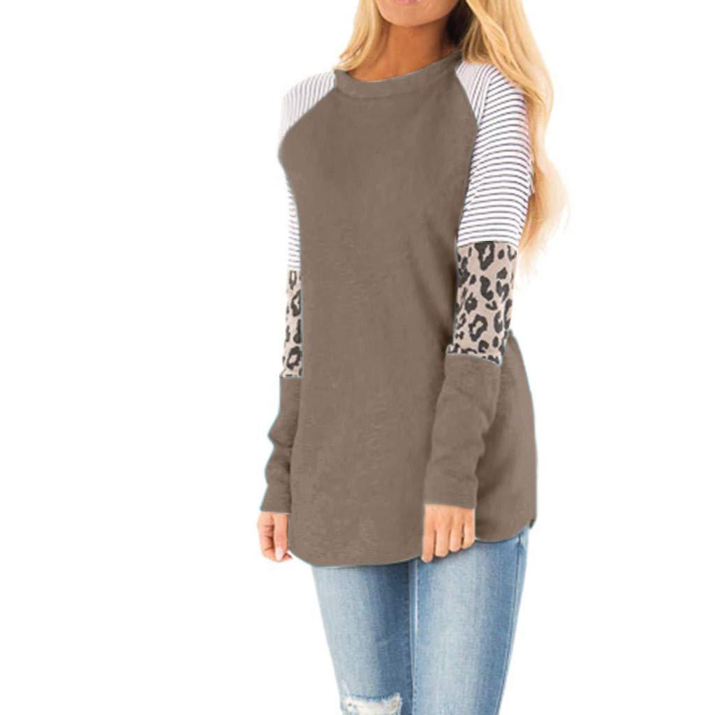 Womens Blouses Sale Autumn WinterTops Women Casual Leopard Printing Long Half Sleeve Tank Top T Shirt Blouse Sweatshir Warm Clothing Gift UK Size S-XXXXXL