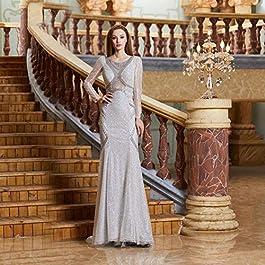Evening Dress Long Reflective Dress Beaded Elegant O Neck See Through Deep Back Formal Party Dress Evening dress