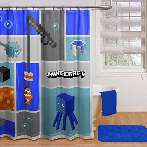 Franco Minecraft Bathroom Set - Shower Curtain, Hooks, Bath Towel, Washcloths, Bath Rug,and Wastebasket