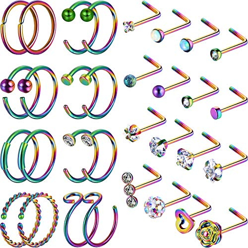 (Chinco 32 Pieces C-Shaped Nose Ring L-Shaped Hoop Tragus Nose Studs Bone Curved Hoop Tragus Cartilage Hoop Piercing (C Shape, L Shape, Rainbow Color))