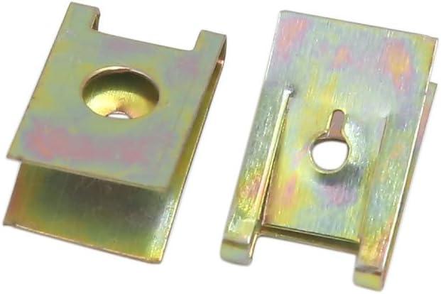 sourcingmap/® 30 Pcs Ton Cuivre M/ètal auto voiture Panneau porte vis Spire U-rivets colliers type
