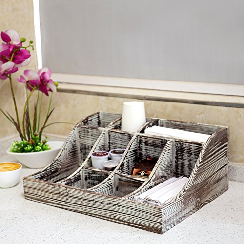 9-Compartment Rustic Torched Wood Tabletop Condiment Holder, Coffee & Tea Storage Caddy by MyGift (Image #2)