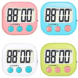 Kasmena 4 Pack Digital Kitchen Timer,Loud Alarm Clock Timer,Minute Second Countdown,Magnetic Backing,White,Pink,Green,Blue