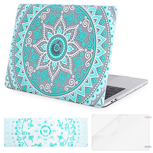 MOSISO MacBook Pro 13 Case 2018 2017 2016 Release A1989/A1706/A1708 w/ & w/o Touch Bar,Plastic Pattern Hard Case & Keyboard Cover & Screen Protector Compatible Newest Mac Pro 13 in,Hot Blue Mandala