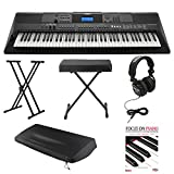 Yamaha PSREW400 76 Key Keyboard w/ Power Supply ,Knox Stand, Bench, Dust Cover, Studio Headphones & Book