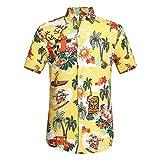 Willsa Mens Shirts, Printed Lapel Button Down Holiday Casual Beach Short Sleeve Tops Shirt Blouse Yellow