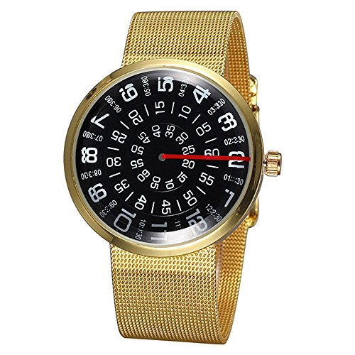 Fashion Creative Mesh Chain Band Number Dial Wrist Watch Men Quartz Watch (Relic Steel Mesh Watch)