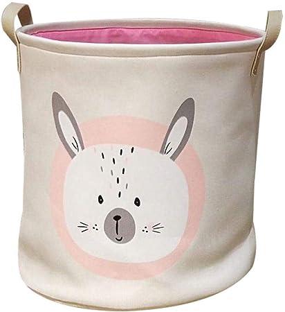 Zinsale Algodón y Lino Cestos para la Colada Animal Plegable Lavable Cesto de lavandería Juguetes para bebés Cesta de Almacenamiento de contenedores (Cabeza de Conejo, S (30 x 30cm)): Amazon.es: Hogar