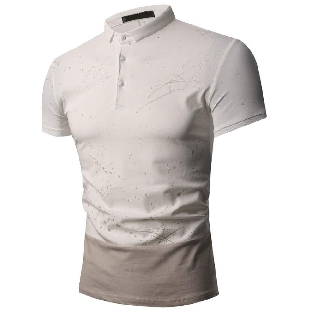 Vska Mens Splash-Ink Printed Contrast Color Polo Shirts Silm Fit Short Sleeve Tees