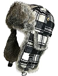 Wool Blend Buffalo Check Faux Fur Aviator Outdoor Trapper Trooper Pilot Ski Hat