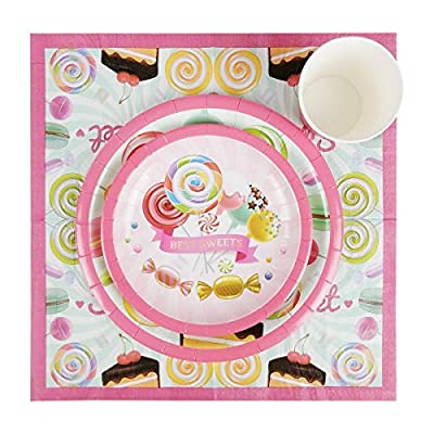 Cieovo Candyland Party Supplies Set for 16 Guests Including Dinner Plates, Dessert Plates, Lunch Napkins, Cups for Baby Shower Wedding Family Activity Lollipop Theme birthday Party Decorations: Toys & Games