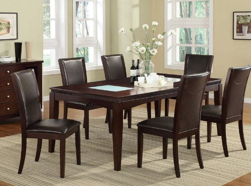 7pc Dining Set with Tempered Glass in Espresso Finish