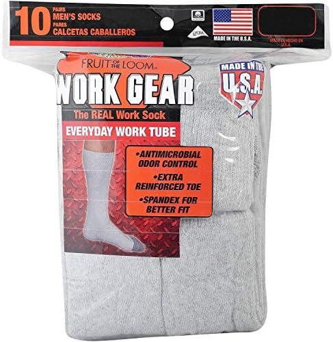 Fruit of the Loom Men's Work Gear Heavy Duty Tube Socks (Shoe Size: 6-12 (Sock Size: 10-13), Grey)