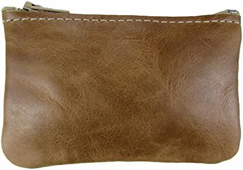 North Star Men's Leather Zippered Coin Pouch Change Holder