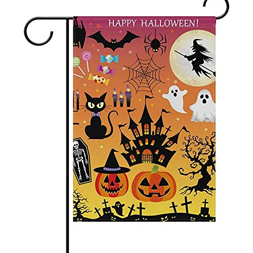 (12 x 18 Inches Double Sides,Appy Halloween Graphic Elements Festival Garden Flag Happy Halloween Colorful Flag Decoration House Yard Flag Outdoor Durable Seasonal)