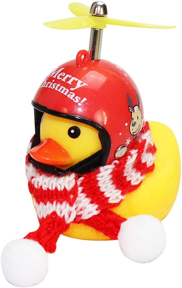 wonuu Rubber Duck Car Ornaments Yellow Duck Car Dashboard Decorations with Propeller Helmet for Christmas Decor and Home Decorations for Adults