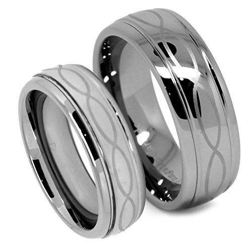 Matching Tungsten Wedding Band Set, Infinity Ring Set for His and Her, Classy, 8mm and 6mm