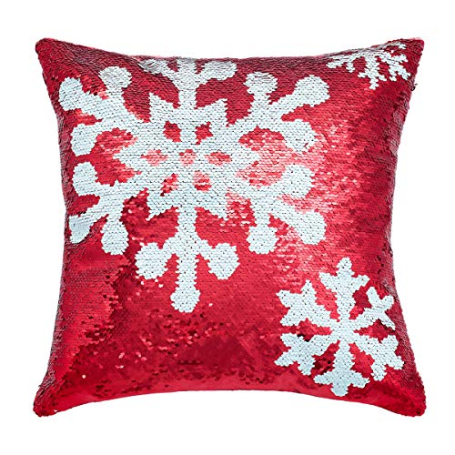 Segorts Sequin Snowflake Throw Pillow Cover Mermaid Reversible Cushion Cover Color Changing Home Décor Pillow Case for Sofa Bed 16