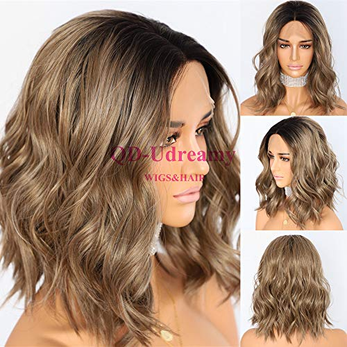 QD-Udreamy Black Roots To Ombre Brown Lace Front Wigs Short Natural Wavy Hair Glueless Synthetic Wigs for Women (Ombre Hair Brown To Blonde Medium Length)