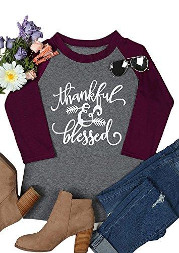 Amazing Speed Womens Thanksgiving Thankful Blessed Print O-Neck Casual Raglan Sleeve T-Shirt